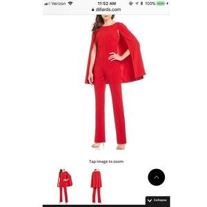 Adrianna Papell Red Jumpsuit with Attached Cape